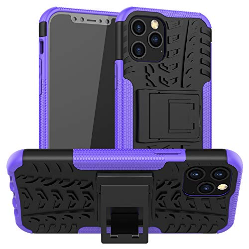 Ankoe for iPhone 12 Pro/Max Case, Heavy Duty Hybrid Slim Dual Layer Rugged Rubber Hybrid Hard/Soft Impact Armor Defender Protective Case with Kickstand for iPhone 12 Pro/iPhone 12 Max 6.1 Inch (P)