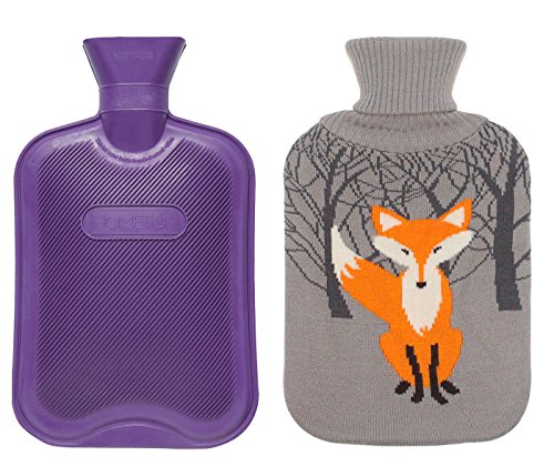 Premium Classic Rubber Hot Water Bottle w/Cute Knit Cover (2 Liter, Purple/Gray...