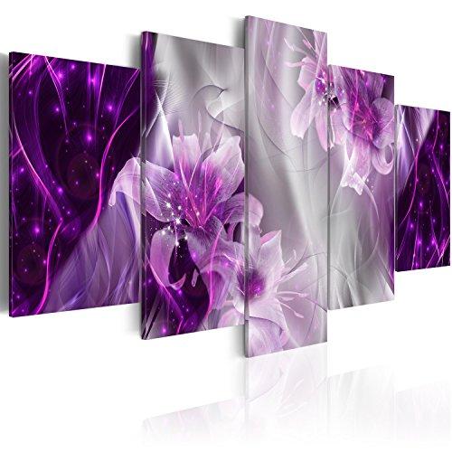 murando Cuadro en Lienzo Flores 200x100 cm Impresión de 5 Piezas Material Tejido no Tejido Impresión Artística Imagen Gráfica Decoracion de Pared Abstracto Azucena a-C-0047-b-p