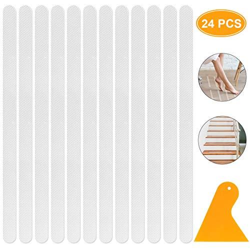 Youjia 24 Stück Antirutschstreifen für Dusche & Badewanne - Selbstklebend & Transparent - Anti Rutsch Streifen Aufkleber für Treppenstufen - rutschfeste Klebestreifen - Rutschschutz Treppe