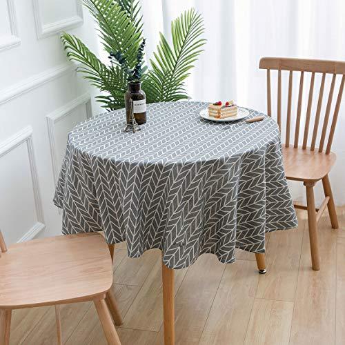 YCZZ Rond tafelkleed, geometrisch tafelkleed in rustieke stijl, kleine frisse salontafel van katoen en linnen tafelkleed