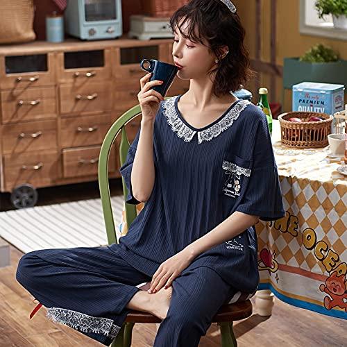 Pijama Conjunto De Pijamas De Algodón De Gran Tamaño para Mujer, Ropa De Dormir De Verano para Mujer, Ropa De Casa De Dibujos Animados Bonitos, Ropa De Dormir Sexy con Abertura En El Cuello
