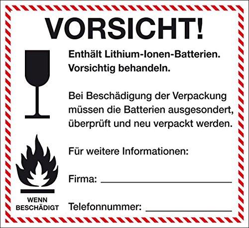 LEMAX® Verpackungskennz. Lithium-Ionen-Batterien, ADR 188 f), deutsch, Folie, 120x110mm
