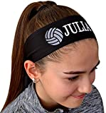 Funny Girl Designs Volleyball TIE Back Moisture Wicking Headband Personalized with The Embroidered Name of Your Choice (Black Solid Tie Back)