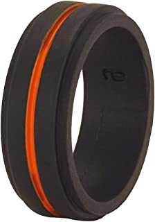 Orange Silicon Wedding Band,Silicon Wedding Ring,Black Silicon Ring,Anniversary Ring,Men & Women,Orange Silicon Ring