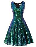 GRACE KARIN Women's Sequin Glitter Flared A-line Cocktail Dress Size S Dark Green CL061-8