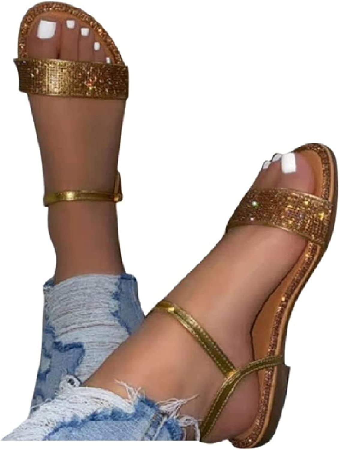 cooki Sandals for Women Casual Summer Crystal Vintage Wedge Sand