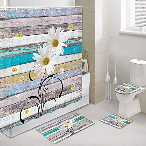 Rustic Shower Curtains with Rug Set, Floral on Rustic Wooden Daisy Flower Natural Bathroom Accessory, 4 Piece Set-Fabric Shower Shower Curtain & Bath Rug & Toilet Mat & Toilet Lid Cover and 12 Hooks