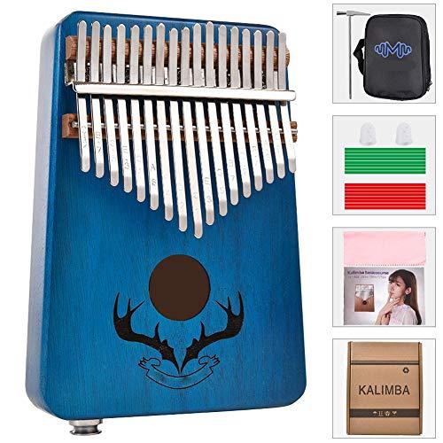 Dr.Lefran Kalimba 17 Keys Thumb Piano, EQ-Daumenklavier aus Mahagoni mit Lernanleitung und Stimmhammer, für Kinder, Erwachsene, Anfänger,Blau