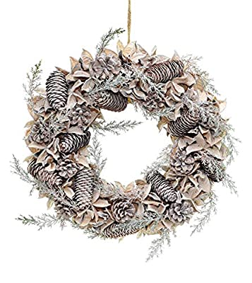 Shatchi Large 50cm Handmade Christmas Wreath Made with Real Cotton Balls, Pine Cones Vintage Xmas Home Décor Door Decorations, Green
