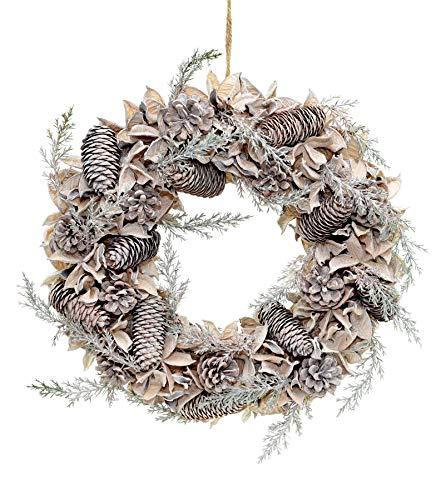 Shatchi 15528-WREATH grote 50cm handgemaakte kerstkrans gemaakt met echte katoenen ballen, dennenappels Vintage Xmas huisdecoratie deur decoraties, groen