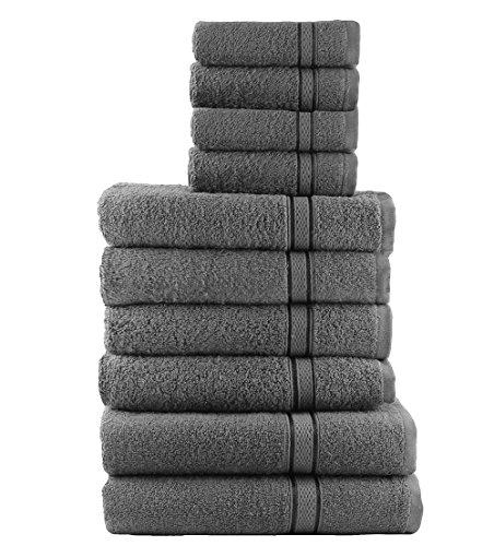 Casabella 10 Piece Soft Towel Bale Set Face Hand Bath Bathroom Towels_Grey_10 Pieces
