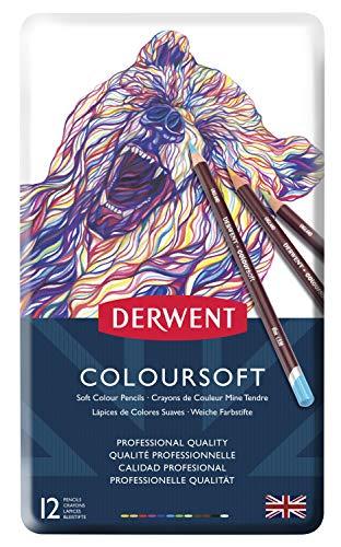 Derwent Colorsoft Pencils, 4mm Core, Metal Tin, 12 Count (0701026)