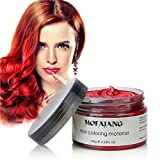 Temporary Hair Color Wax Unisex, Hair Coloring Wax Hairstyle Disposable Hair Styling for Date, Party, Bar, Cosplay, Masquerade, Halloween 4.23 oz (Red)