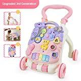 FRUITEAM Baby Walkers Toys, Kids Activity Center with Microphone, Music and Light, Develop