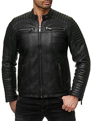 Redbridge Chaqueta de Hombres Cuero Sintético Moda Casual Negro M
