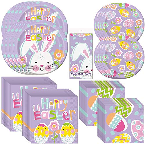 Unique Lilac Easter Dinnerware Bundle | Plates, Napkins, Tablecloth | Easter Sunday, Church Event, Kid's Birthday Party, Religious Activity