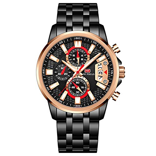 JTTM Reloj De Cuarzo para Hombre Manos Luminosas Multifunción Impermeable Analógico Calendario Correa En Acero Inoxidable Negocio Relojes,Rose Black