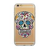 Coque Iphone 7 Tete de Mort Mexicaine Calavera Fleur Transparente