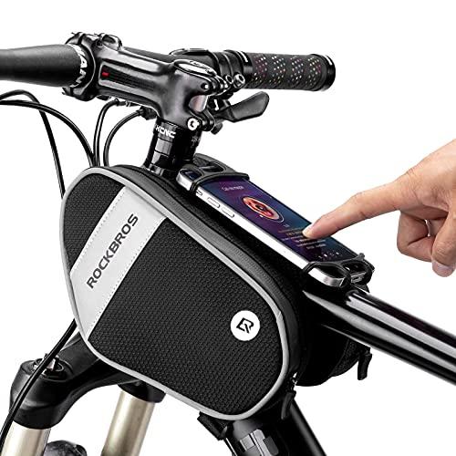 ROCKBROS Bike Front Frame Bag Top Tube Bike Phone Mount Bag Waterproof...