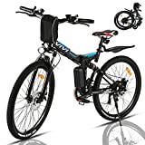 VIVI Bicicleta Electrica Plegable 350W Bicicleta Eléctrica Montaña, Bicicleta Montaña Adulto Bicicleta Electrica Plegable 26', Batería de 8 Ah, 32 km/h Velocidad MÁX (Azul-350W)