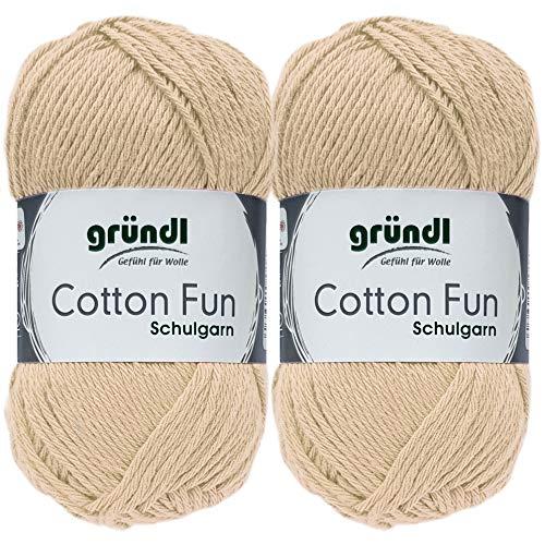 2x50 Gramm Gründl Cotton Fun Häkelgarn Schulgarn aus 100% Baumwolle + 1 Anleitung für EIN Meerschwein (Neu Beige)