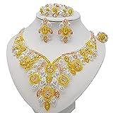 QXZ-WOLFBERRY Conjunto de Joyas de Vestido Africano de Nigeria, Conjunto de Joyas del Collar de Dubai, Regalos de la Fiesta de Las señoras (Metal Color : BJ889 2)