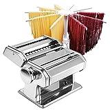Máquina para hacer pasta - Rodillo para pasta - Rodillo 2 en 1 con cortador de pasta - 8 ajustes de grosor ajustables - Pasta fresca casera - Cortador doble, manivela, colgador de pasta