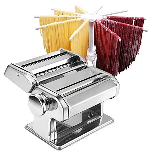 Machine à pâtes - Machine à pâtes à rouleaux - Rouleau 2 en 1 avec coupe-pâtes - 8 réglages d'épaisseur réglables - Pâtes fraîches faites maison - Coupe-double, manivelle, cintre à pâtes