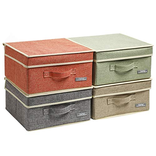 YueYue Small 4 Pack Fabric Stroage Box with Lids, Linen Foldable Stroage Box with lids 4 Color Set 12.4in/12in/6.7in