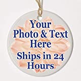 Personalized Ornament, Add photo text or art design and make your own Customized Porcelain Ceramic Ornament, gold string and Gift Bag Included. Round Custom Photo Ornament for Christmas tree