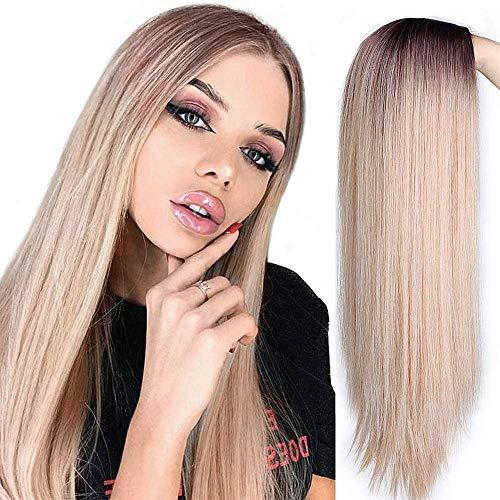 ColorfulPanda Perücke Blond Damen Lang Glatt Perücken für Frauen,Natürlich Ombre Blonde Gemischt Braun Synthetische Haar
