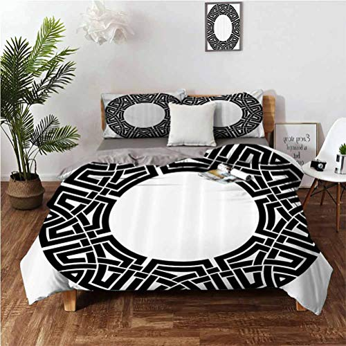 Celtic Decor Collection Beautifully printed three-piece set on the bed Ornamental Round Celtic Frame with Folkloric Tied Knot Pattern Vintage Decorative Design Suitable for any bedroom or guest room