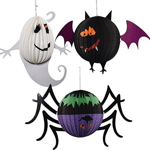 Ruikey Halloween Fledermaus Spider Ghost Form Papier Laternen Hängelampe Laternen Decor für Home Bar Party Set von 3