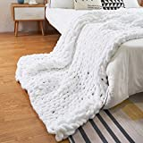 ZUIBESCHOS Chunky Knit Blanket 40'x60' Chenille Throw Boho Home Decor for Baby Blanket, Sofa Chair, Pet Mat, Single Bed(White) 40''x60''