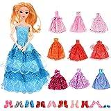 Faburo 20pcs Accessori per Barbie Dolls Bambola, 10pcs Vestiti per Barbie Dolls + 10pcs Scarpe Tacco Alto per Barbie Doll, Stivali, Scarpe Sportive(Stile Casuale)