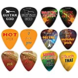 Funny Sayings Guitar Picks (12-Pack) - Music & Guitar Accessories for Men Him Husband Dad Boyfriend Son Boys Musician Gift – Medium Gauge Celluloid - Fingerstyle Guitar Picks