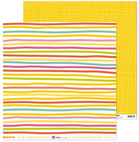 Anita y Su Mundo Colección Me Organizo Papeles de Scrapbooking, Paper, Rayas, 30.5 x 30.5 cm
