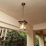 Bkrred Birnen-Kronleuchter-Ball-Anhänger-Lampe Glas Loft Vintage-im Freien Wasserdichten Jahrgang Industrie-Aluminium-Glaskugel-Regendicht Außenhängeleuchten Rost- Gartenlampen E27 / E26