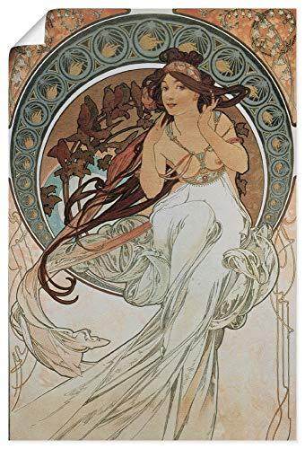 Artland Poster Kunstdruck Wandposter Bild ohne Rahmen 40x60 cm Alfons Mucha Vier Künste Die Musik 1898 Frau Kunst Jugendstil T7HV