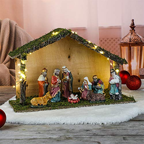 Wunderschöne Weihnachtskrippe mit LED Beleuchtung Handarbeit mit 9 hochwertigen Figuren Weihnachts Krippe Krippenspiel mit Holz Moos und Porzellan