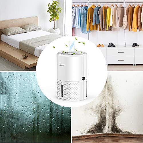 Mooka Mini Dehumidifier, 2000 Cubic Feet (190 Sq ft), 32oz (900ml) Capacity, Compact and Portable Small Dehumidifier with Auto Shut Off, Quiet Dehumidifier for Basement, Bedroom, Closet, Bathroom, RV