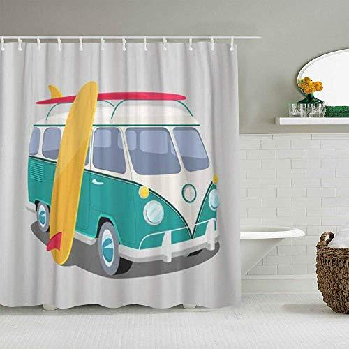 Duschvorhang Bus Surfer Van Transport & Surfen Sport Board Camper Surf Personalisierte Dekor Badezimmer Vorhang 180x180