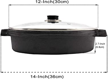 Cast Iron Skillet with Tempered Glass Lid, 12-Inch Double Handled Cast Iron Deep Frying Pan with Lid