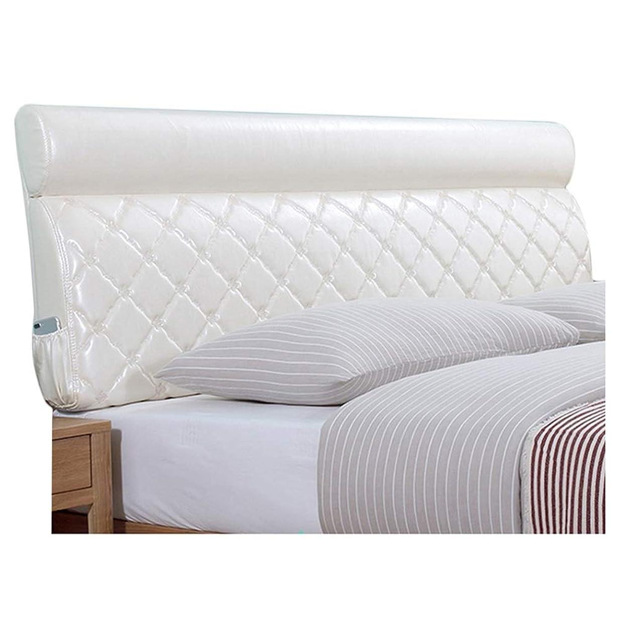 瞑想する優先倫理LIQICAI クッション ベッドの背もたれ ヘッドボードなしでベッドに合うように、 3色、 8サイズ (色 : 白, サイズ さいず : 190x12x60cm)