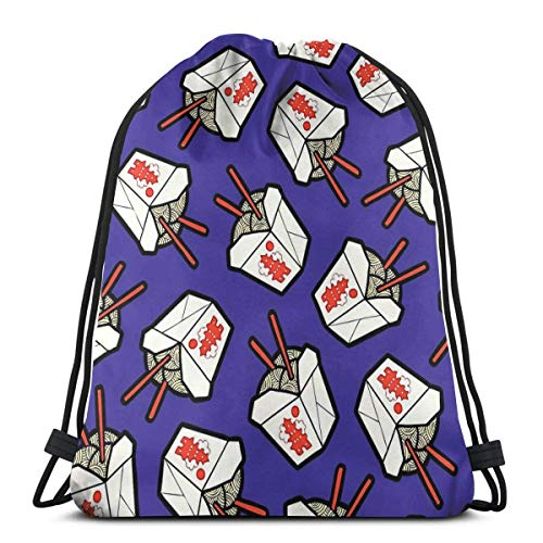 Take out Noodles Box Pattern Drawstring Backpack Bag Lightweight Gym Travel Yoga Casual Snackpack Shoulder Bag for Hiking Swimming Beach