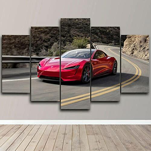 yuanjun 5 Juegos De Pinturas Impresión HD Pintura De Arte De Pared Pintura Moderna Pintura De Decoración del Hogarimpresión De Lienzo XXL Tesla Roadster 5 Piezas De Vela
