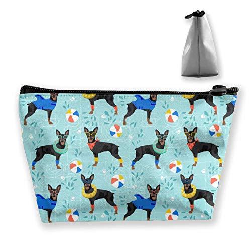 Miniatura Pinscher piscina multifunción trapezoidal bolsa de almacenamiento bolsa de cosméticos pequeña bolsa de maquillaje neceser portátil bolsa de viaje con cremallera