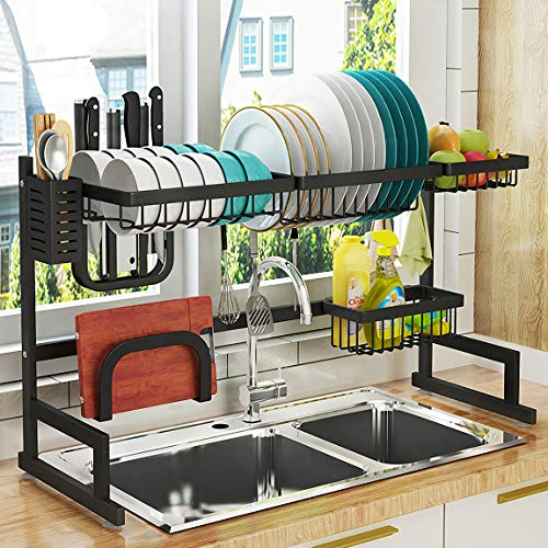 """Over Sink(32"""") Dish Drying Rack, 2 Cutlery Holders Drainer Shelf for Kitchen Supplies Storage Counter Organizer Stainless Steel Display- Kitchen Space Save Must Have (Sink Size ≤ 32 1/2 inch, Black)"""