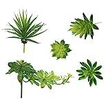 LJY Paquete de 5 variadas flores artificiales mezcladas acento plantas pequeñas sin maceta.